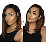 13x6 Side Part Ombre Brown Short Bob Lace Front Wigs Pre Plucked Hairline 130% Brazilian Remy Full Lace Human Hair Wigs for Black Women Bleached Knots Ombre Color Bob Wigs (10 inch, Lace Front Wig)