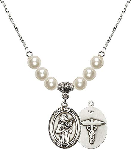 bliss 18-Inch Rhodium Plated Necklace with 6mm Faux-Pearl Beads and Saint Agatha/Nurse Charm. Patron Saint of Nurses/Breast Cancer ()