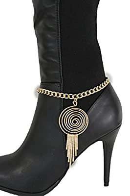 TFJ Women Western Boot Chains Metal Bling Bracelet Anklet High Heel Swirl Retro Charm Urban Gold