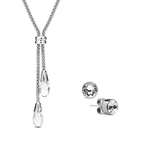The Gemseller 18K White Gold Plated 45cm Lariat Necklace with 2 Swarovski Crystals Stud Earrings 6mm (Old West Outfit)