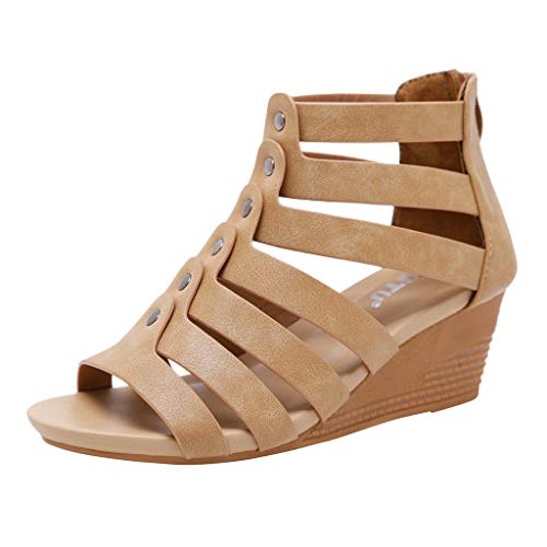 Bohemian Sandals,Boomboom Women Gladiator Strappy Dress Platform High Heals Zipper Wedge Sandals (Brown,US 8)