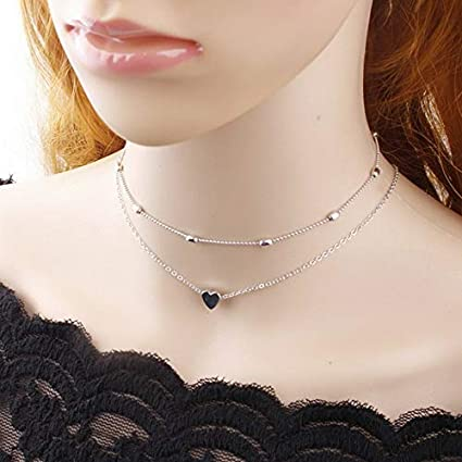 6a492a9ece8 Image Unavailable. Image not available for. Color: Hebel Sexy Simple Double  Layers Chain Heart Pendant Necklace Choker Women Jewelry Gift ...