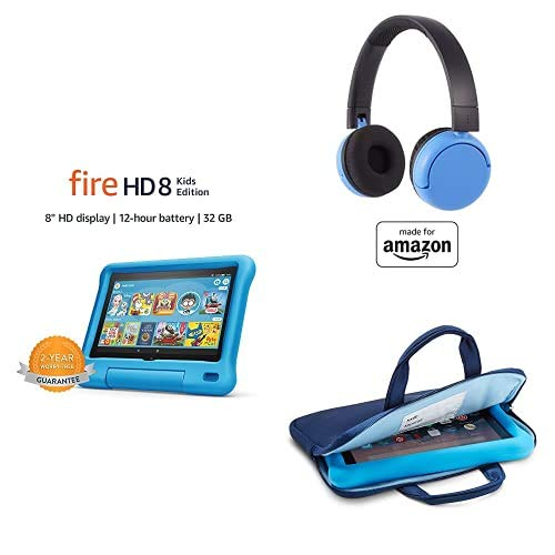 Fire HD 8 Kids Essential Bundle including Kids Fire HD 8 Tablet 32GB Blue + Poptime Bluetooth Headset (Ages 8-15) + Tablet Carrying Sleeve