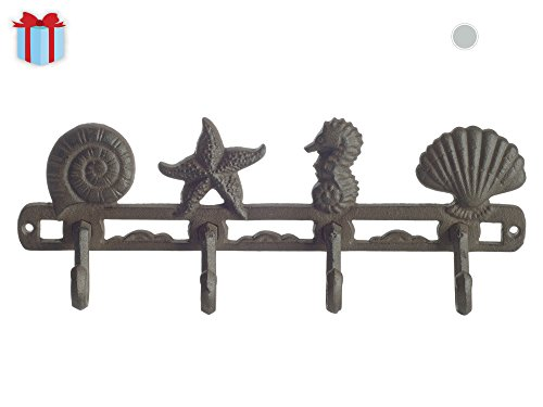 Vintage Seashell Coat Hook Hanger by Comfify | Rustic Cast Iron Wall Hanger w/ 4 Decorative Hooks | Includes Screws and Anchors | in Rust Brown | (Seashell Wall Hanger CA-1507-04)
