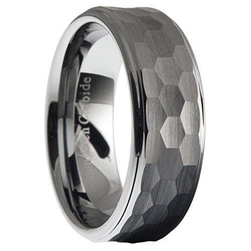 Hammered Wedding Ring (8mm Tungsten Carbide Men Hammered Stepped Edges Wedding Band Ring Size 12.5)