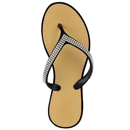 Moda Donna Assetata Diamante Infradito Sandali Jelly Sandali Estate Beach Toe Post Scarpe Taglia Nero