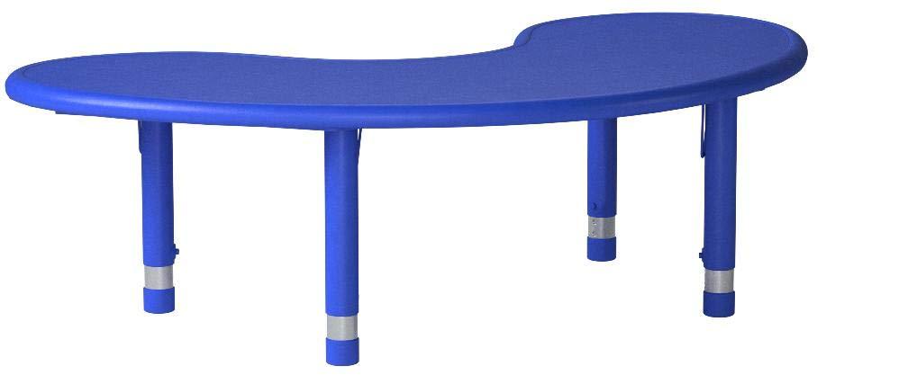 Flash Furniture Height Adjustable Half-Moon Blue Plastic Activity Table, 35 x 65''