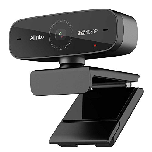 (Webcam 1080P Auto Focus with HDR H.264 Dual Microphones, Allinko 660 Ultra High-Resolution Web Camera Widescreen Video Calling Recording Game Streaming, Skype Web Cam for Mac OS X Win 10 8 7 Vista)