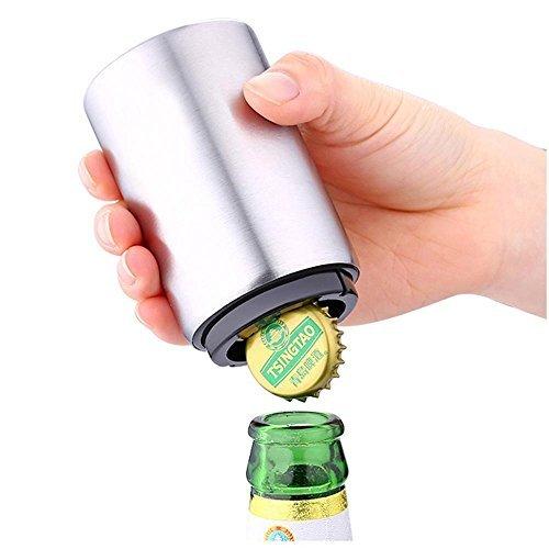 niceeshop(TM) Magnetic Automatic Beer Bottle Cap Opener,Stainless Steel Push Down Beer Opener,Silver