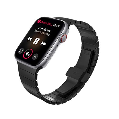 KADES Compatible for Apple Watch Band 42mm, Link Bracelet for Apple Watch Band 44mm Series 4 iwatch Bands 42mm with Butterfly Clasp (Black)