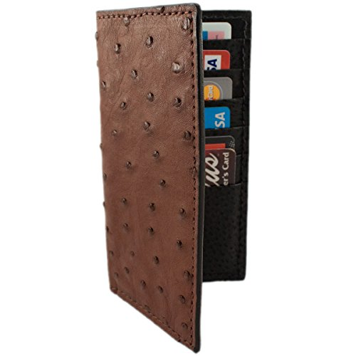 Brown Genuine Ostrich Skin Rodeo Checkbook Leather Wallet