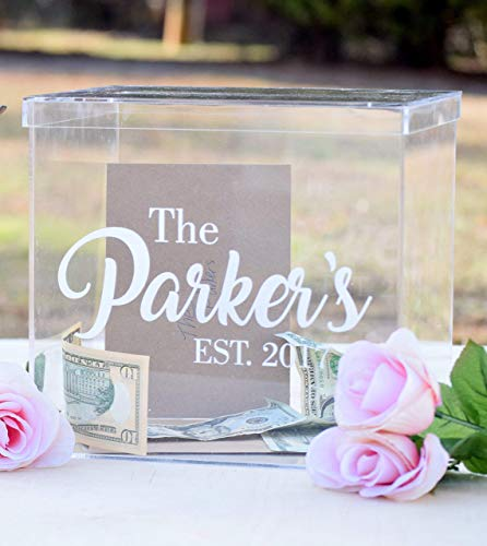 Personalized Clear Card Box with Lid - Wedding Card Box - Personalized Card Box - Wedding Keepsake Box - Acrylic Card Box - Wedding Card Box with Slot - Card ()