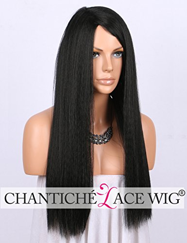 Chantiche Cheap Black Yaki Straight Synthetic Wigs- Realistic Looking Machine Made Non Lace Wig with Side Parting Long Wigs for Black Women 24""
