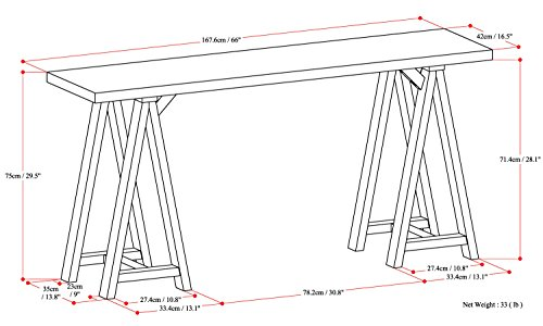 Simpli Home Sawhorse Solid Wood Wide Console Sofa Table, Medium Saddle Brown by Simpli Home (Image #5)