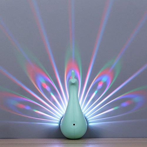 Edelin LED Night Light, Peacock Wall Light, Originality Modern Decorative Lighting Bedroom Projection lamp (Green)