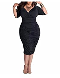 BIUBIU Women's Plus Size Sexy 3/4 Sleeve V Neck Ruched Bodycon Midi Dress L-3XL