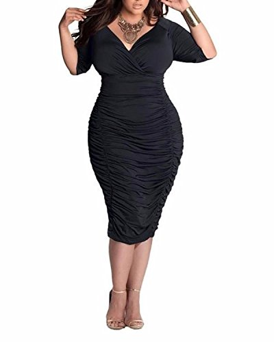 3XL Midi Ruched Sexy Sleeve Black Bodycon Neck 3 Women's Plus Dress V BIUBIU Size L 4 qwPU6p1x