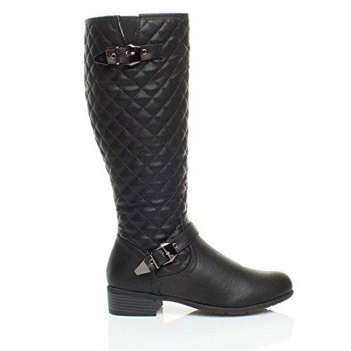 Black calf boots buckle Matt low winter lining heel Womens size knee riding biker Ajvani zip ladies quilted fur 7qaa1R