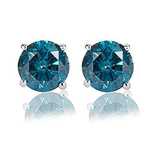 2.70CT Round Brilliant Cut Blue Diamond 14K White Gold Over Stud Earrings Screw Back