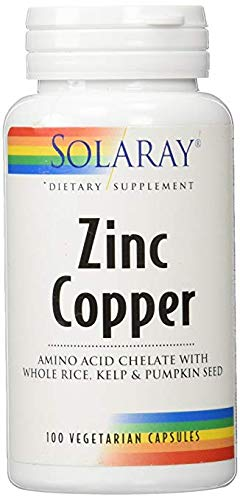Solaray Zinc Copper, 50mg / 2mg, 100 caps (2 Pack)