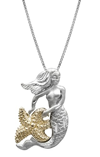 Honolulu Jewelry Company Sterling Silver and 14k Yellow Gold Mermaid and Starfish Necklace Pendant with 18