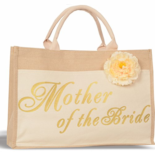 Mother of the Bride Bags - 100% Linen and Cotton, Interior Pocket - Wedding Favors - Bridal Shower Gift - Bachelorette Parties - Bride to Be - Bridal Shower Unique Gifts (Mother of the Bride)