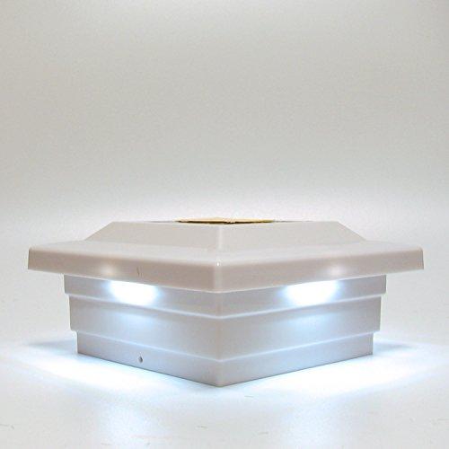 Solar Post Cap Light Mount 5x5 Inch White Low Profile 4