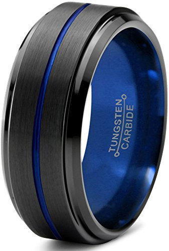 Tungsten Wedding Band Ring 10mm for Men Women Blue Black Center Line Beveled Edge Brushed Polished 13 by Chroma Color Collection