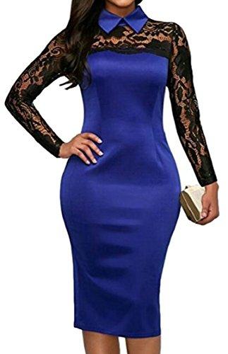 Jaycargogo Dentelle Florale Revers Des Femmes Satin Cocktail Clubwear Manches Longues Robe Wrap Faux Bleu