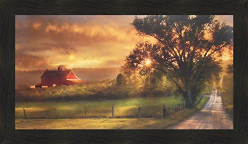 Country Lane Sunset by Lori Deiter 20x34 Red Barn Farm Evening Sun Fields Framed Print Picture (Wall Barn Decor)