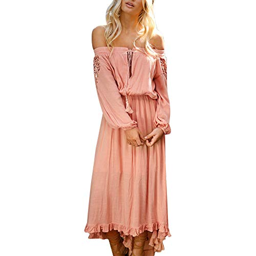 Striped Tank Bodice (Women Sexy Off Shoulder Long Sleeve Dress Solid Cotton Bandage Ruffle Irregular Beach Swing Maxi Sundress(Pink,L))