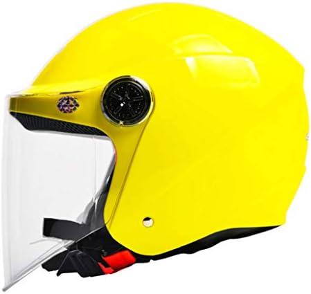 NJ ヘルメット- 電動バイクのヘルメットの男性と女性の四季ユニバーサル半覆われた透明な防曇帯のビブのヘルメット (色 : 黄, サイズ さいず : 30x22cm)