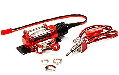 Integy Hobby RC Model C24659RED Billet Machined Realistic Power Winch for Scale Rock Crawler 1/10 Size