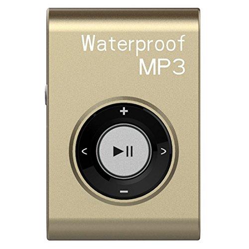 (TOOGOO(R) 4G Waterproof clip MP3 portable swimming MP3 lossless waterproof player gold)