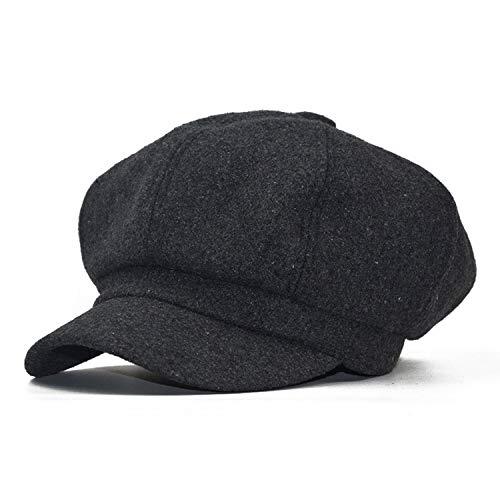 女性のウールの帽 子レトロウール 八角形の帽子ベレー帽子 女性 冬の帽子,暗灰色