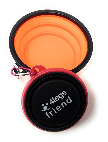 4legsfriend Set of 2 Small and Large Collapsible Pet Bowls with Carabiner Clip | BPA Free Food Grade Silicon 2 Pc Dog and Cat Expandable Travel Bowls | Bright Orange, Pink and Black Pop Out Dog Bowls