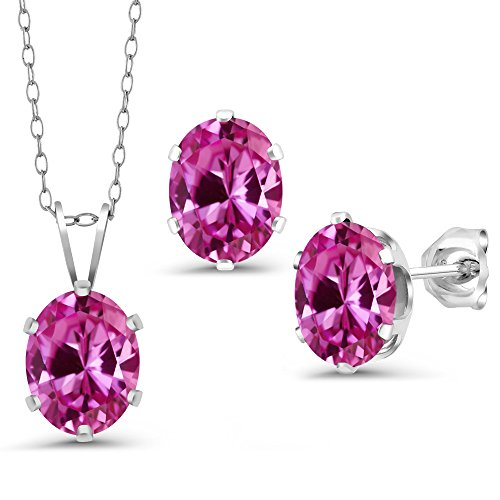 Gem Stone King 4.95 Ct Pink Created Sapphire 925 Silver Pendant Earrings Set With Chain