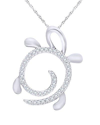 Round Cut Diamond Turtle Pendant in 10K White Gold (1/10 ()
