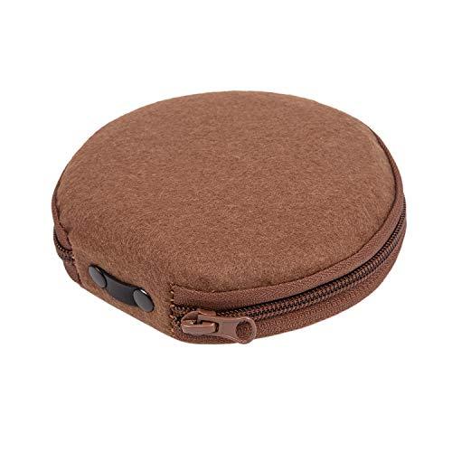 Elezay CD Case DVD Wallet Disc CD-ROM Racks Home Audio Accessories Media Storage Round Felt 20 Capacity Brown