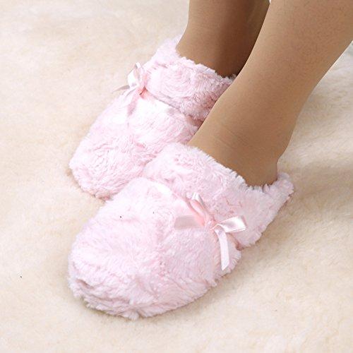 Chaussures Pink Yonglan Doux Couple L'automne Peluche En Bowknot Hiver Pantoufles Chaussons Femmes Coton 8qBZU