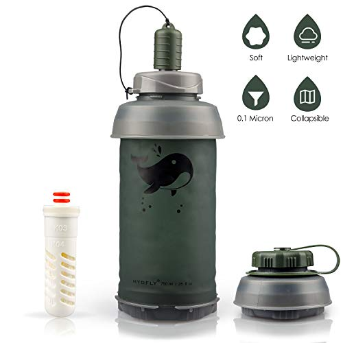 SimPure Collapsible Water Filter Bottle Container for Traveling Hiking Camping Backpacking Endurance Sports, Filter Water Bottle 0.75L / 26 OZ