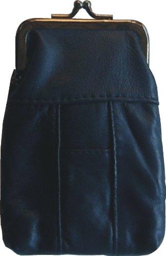 (Blue Lamb Skin Leather Cigarette Case with Lighter Holder Hold 100's)