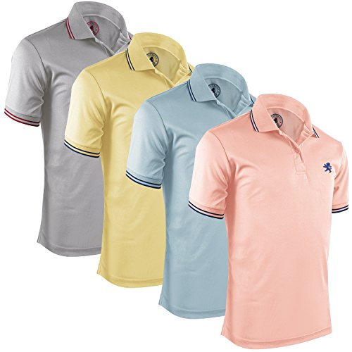 Albert Morris Striped Polo Shirts for Men (4 Pack, Small) Comfortable Short Sleeve Polo Shirt, Pastel Striped Collection ()