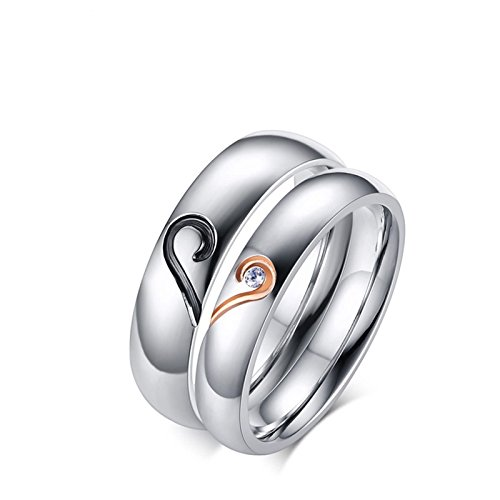 Beydodo Stainless Steel Rings Jewelry Women Size 7 & Men Size 10 His and Hers Rings Gold Puzzle Heart Ring CZ