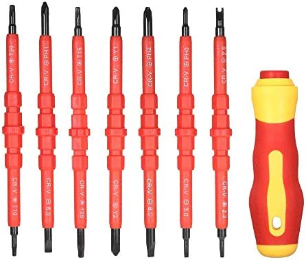 MIEMIE Screwdrivers Set 7 in 1 1000V Changeable Insulated with Magnetic Phillips and Slotted Bits Electrician Repair Tools Kit