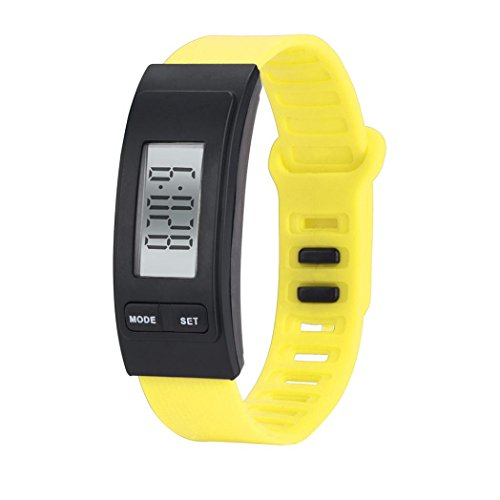 Paymenow couple watches Bracelet for Women Men Lover, 2018 New Classic Running Walking Pedometer Calorie Fitness LCD Wristband (Yellow)