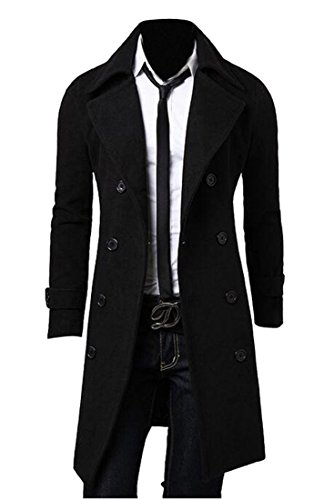 SYTX Mens Slim Fit Lapel Double Breasted Mid Length Trench Pea Coat Jacket Overcoat Black M