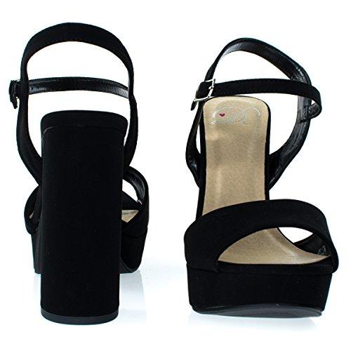 Deliziose Donne Glitter Sandalo Partito, Grosso Blocco Tallone Piattaforma Open Toe Scarpe Mve Scarpe Nere