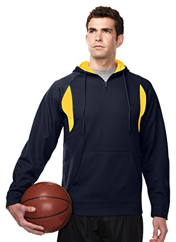 (Tri-mountain Mens 100% Polyester Birdeye Hooded pullover - NAVY/GOLD - XX-Large)