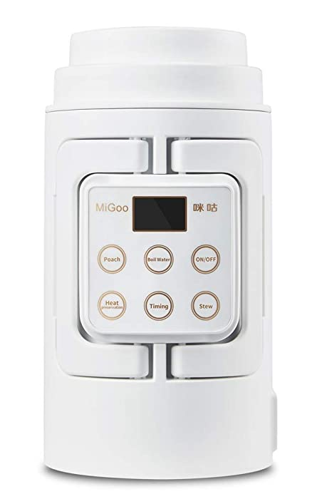MIGOO 0.7L Portable Stew Pot Boil Water Kettle Poach Timing Keep Warm Multi-Use Slow Cooker Low Power without steaming function (1, WHITE)